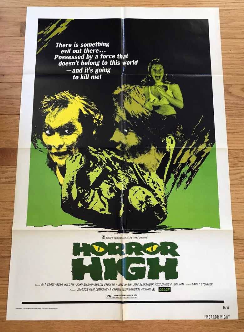 Image of 1974 HORROR HIGH aka TWISTED BRAIN Original U.S. One Sheet Movie Poster