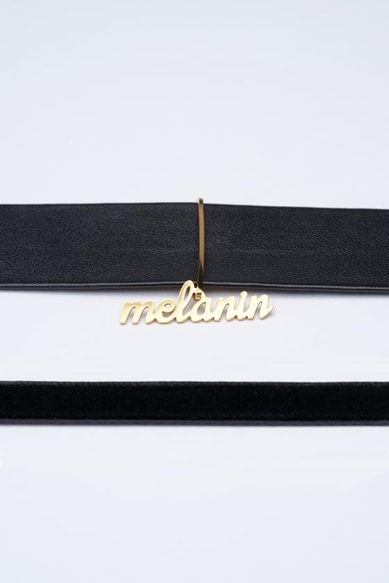 Image of Leather Choker w/ Melanin Charm & FREE Velvet Choker