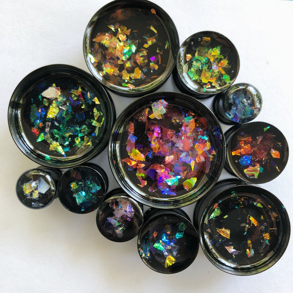 "Image of Iridescent Flake Plugs (sizes 00g-2"")"