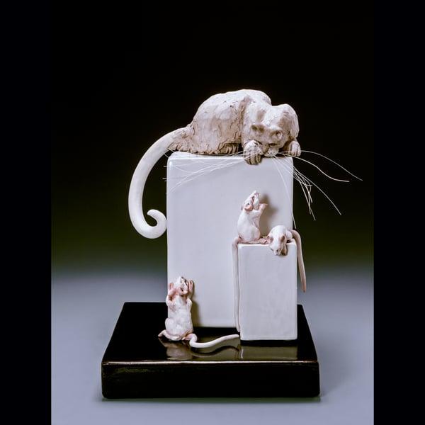 Image of Ceramic Cat Sculpture - Cat Stalking Mice