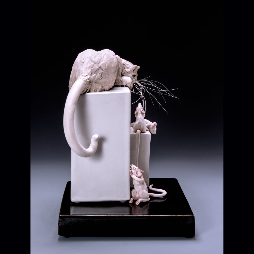 Image of Ceramic Cat Sculpture - Cat Stalking Mice