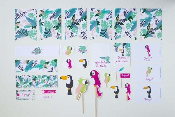 Image of Pack imprimible Tropical Party