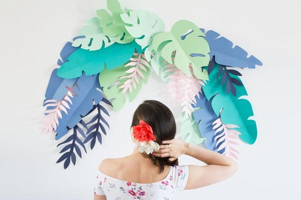 Image of Plantilla imprimible hojas Tropical Party