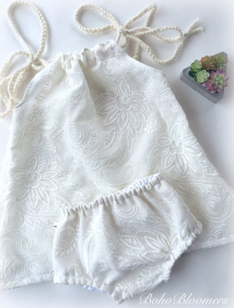 Image of White Embroidery Dress and Bloomers