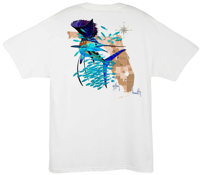 Image of Guy Harvey Florida Sailfish Pocket Tee (white)