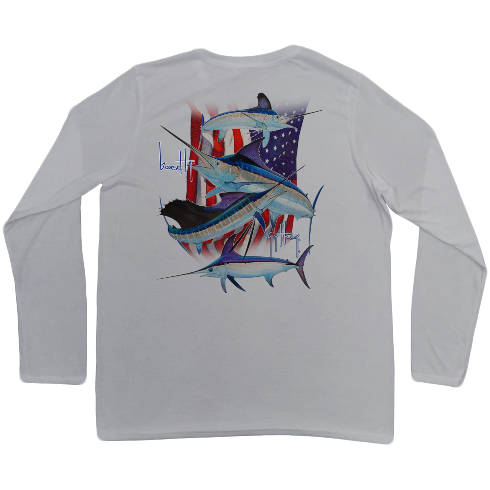 Image of Guy Harvey Stand United Performance Longsleeve (White)