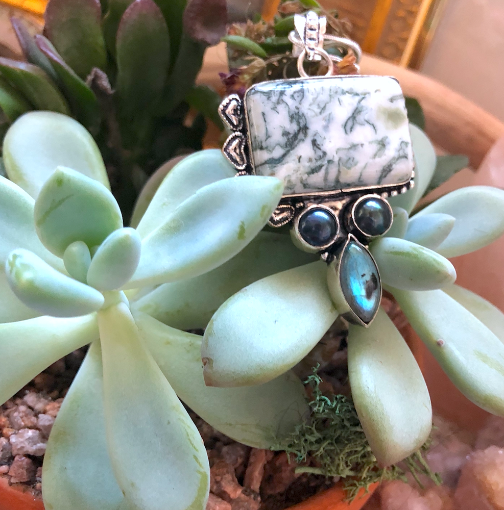 """Image of """"Profound Protector"""" Tree Agate, Hematite + Labradorite Sterling Silver Necklace"""