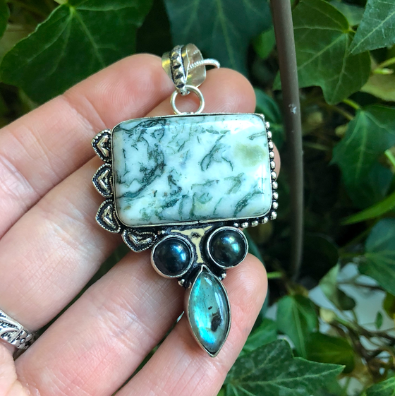 "Image of ""Profound Protector"" Tree Agate, Hematite + Labradorite Sterling Silver Necklace"