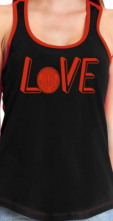 "Image of ""LOVE"" 2 Toned Tank Top Blk/Red"