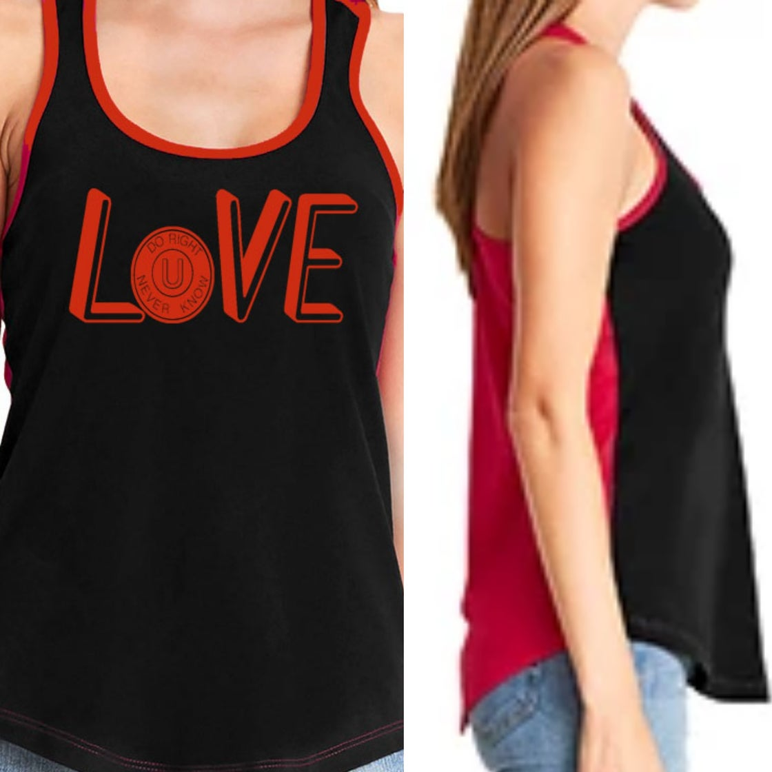 """Image of """"LOVE"""" 2 Toned Tank Top Blk/Red"""