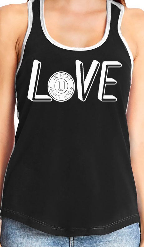 "Image of ""LOVE"" Tank Top Wht/Blk"
