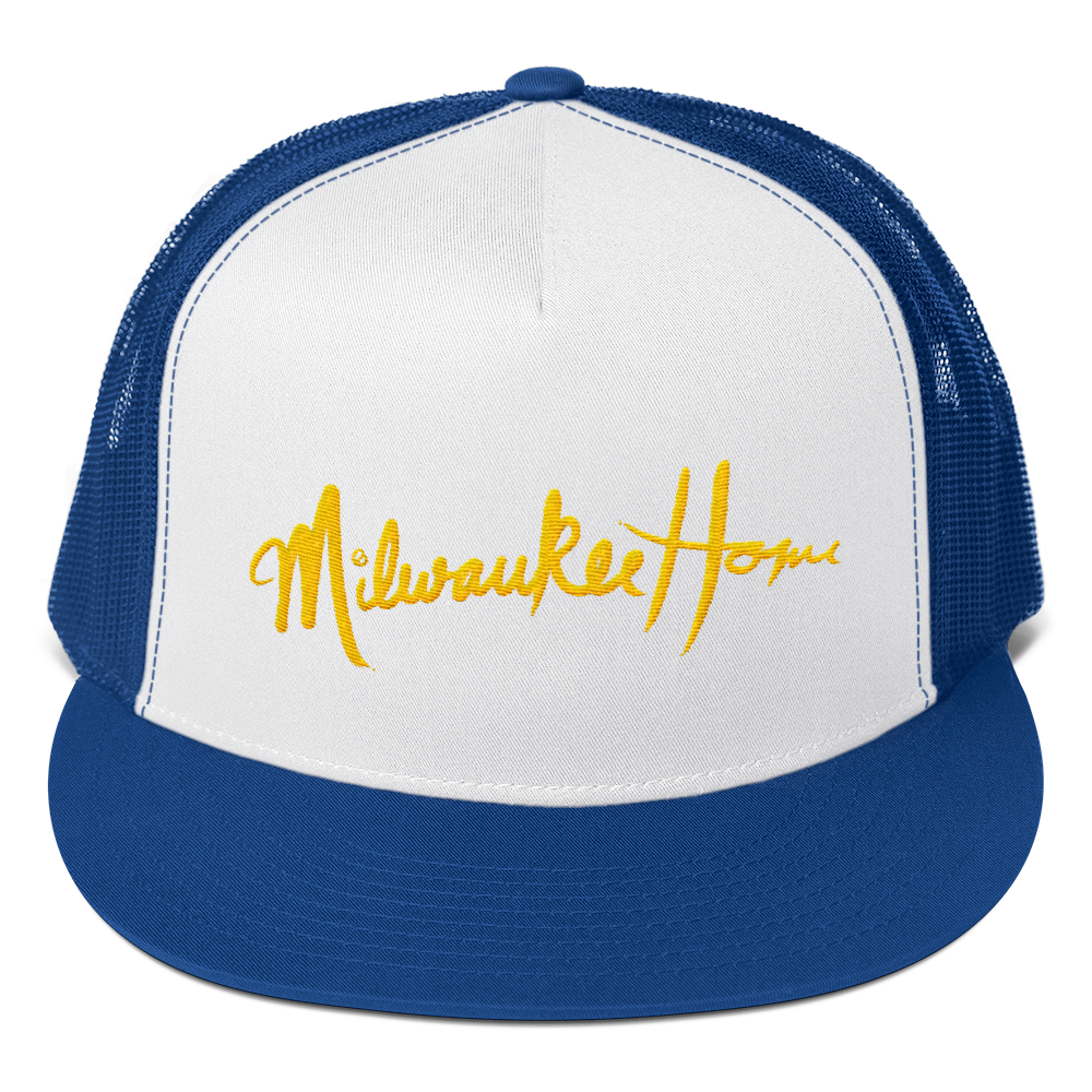 Image of MilwaukeeHome Script Trucker Hat Available in Blue White or Green  White with 7526f2f2390