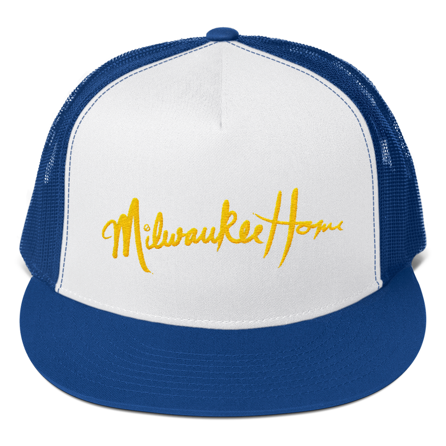 Image of MilwaukeeHome Script Trucker Hat Available in Blue/White or Green/White with Yellow