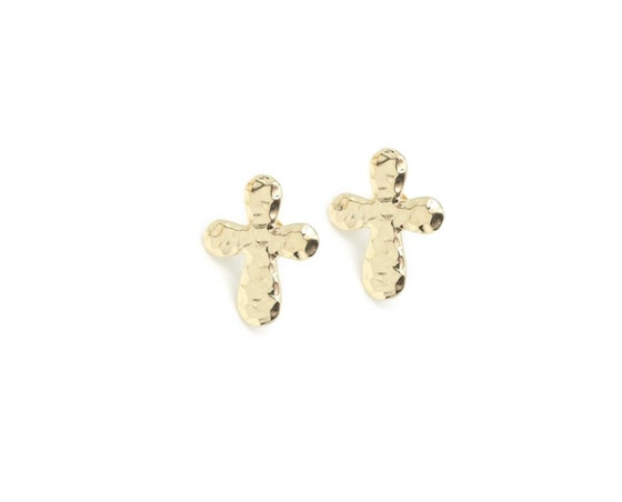 Image of Hammered Cross Studs