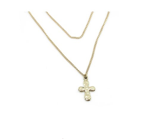 Image of Hammered Cross Necklace