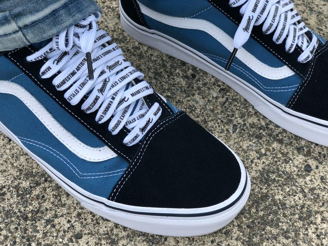 "Image of ""M.A.S.S.I.V.E"" White Shoelaces"