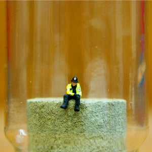Image of Do Plastic Policemen Dream of Model Railways? - Jimmy Cauty Jam Jar Artwork