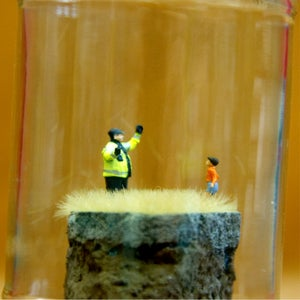 "Image of THE GREAT ADP DEBATE ""Well Mine's This Big You Little Shit"" - Jimmy Cauty Jam Jar Artwork"