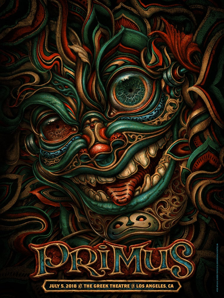 Image of PRIMUS Gig Poster: July 5, Greek Theatre in Los Angeles