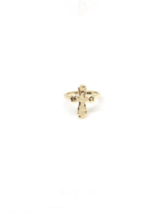 Image of Hammered Cross Ring