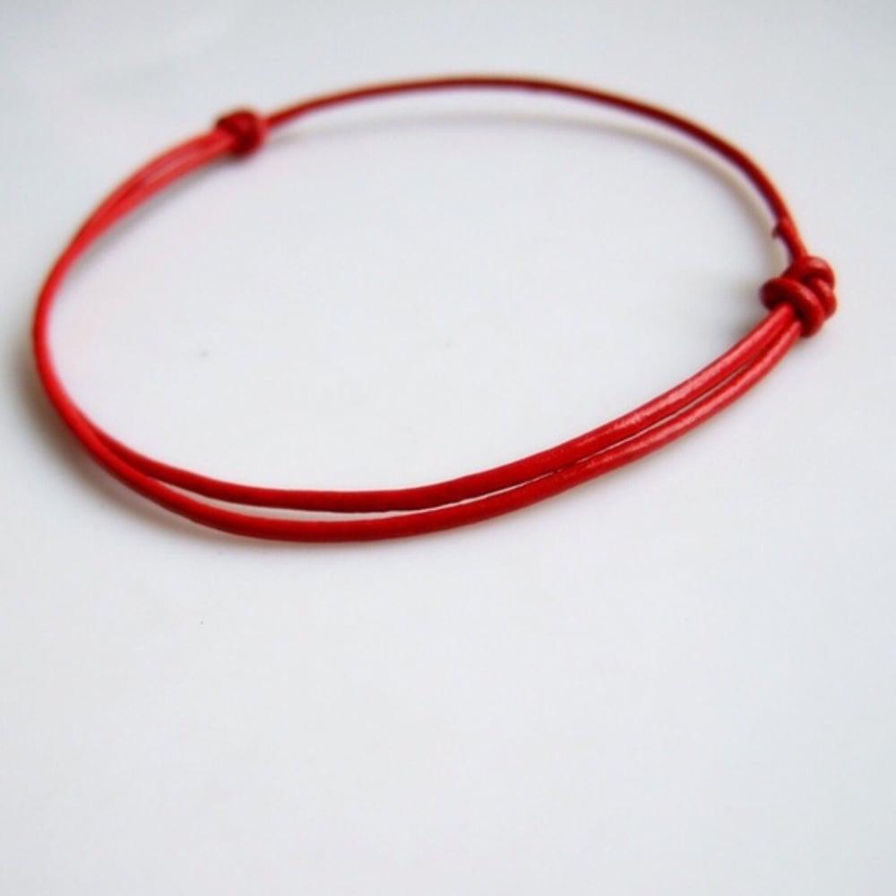 Image Of Red Genuine Leather Kabbalah Bracelet
