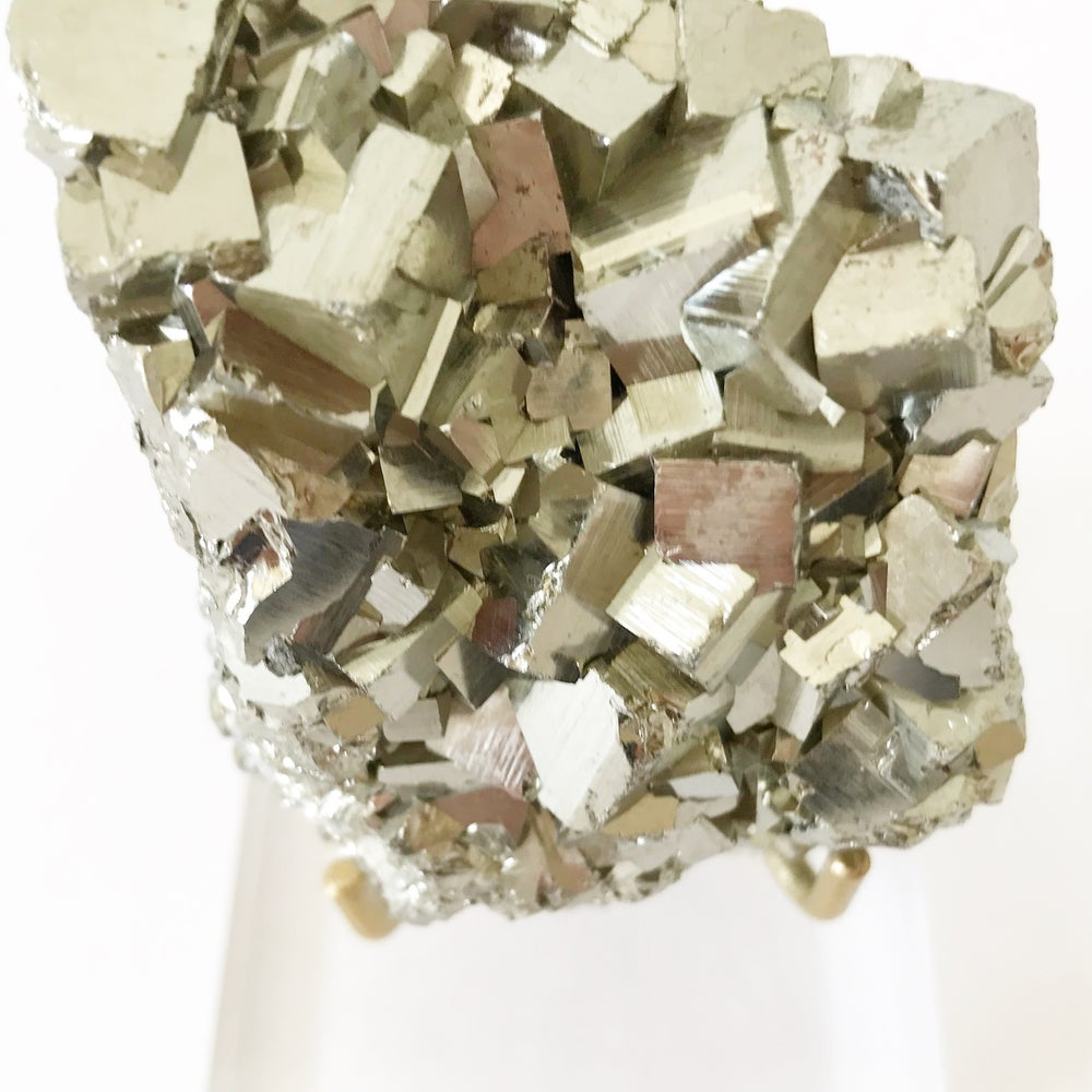 Image of Peruvian Pyrite no.23 + Lucite and Brass Stand Pairing