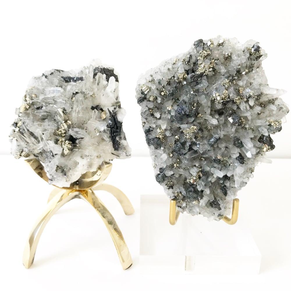 Image of Quartz/Pyrite no.93 Vintau Brass Stand Pairing