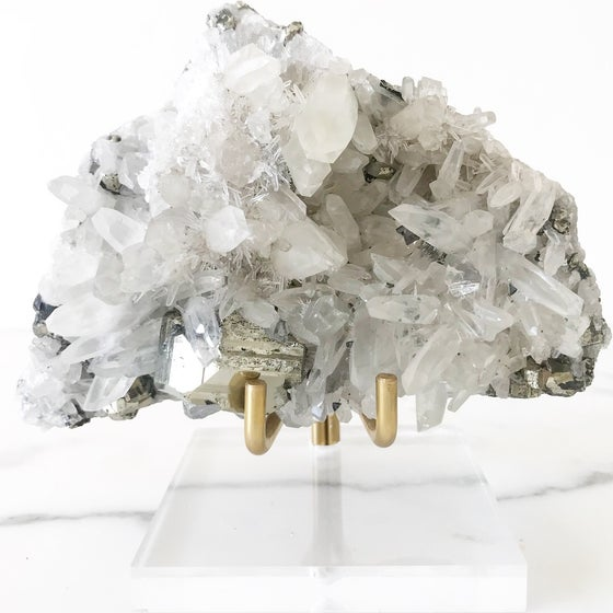Image of Quartz/Pyrite no.96 + Lucite and Brass Stand Pairing