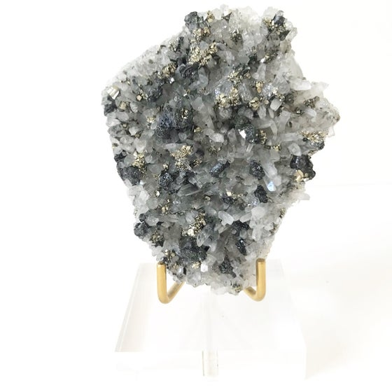 Image of Quartz/Pyrite no.49 + Lucite and Brass Stand Pairing