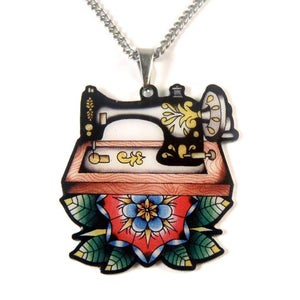 Image of Sew Lovely Sewing Machine & Tape Measure Bow Pendants
