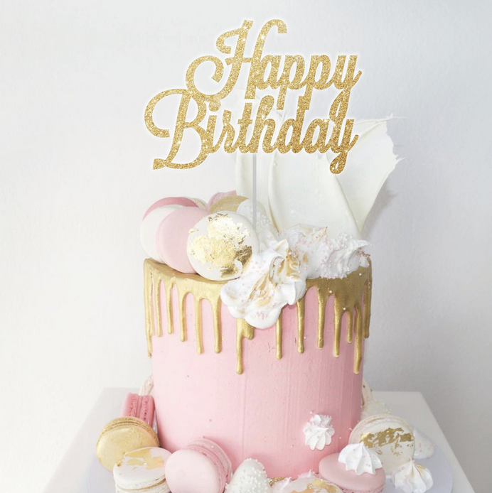 Peachy Happy Birthday Cake Topper Oh So Glitter Personalised Birthday Cards Veneteletsinfo