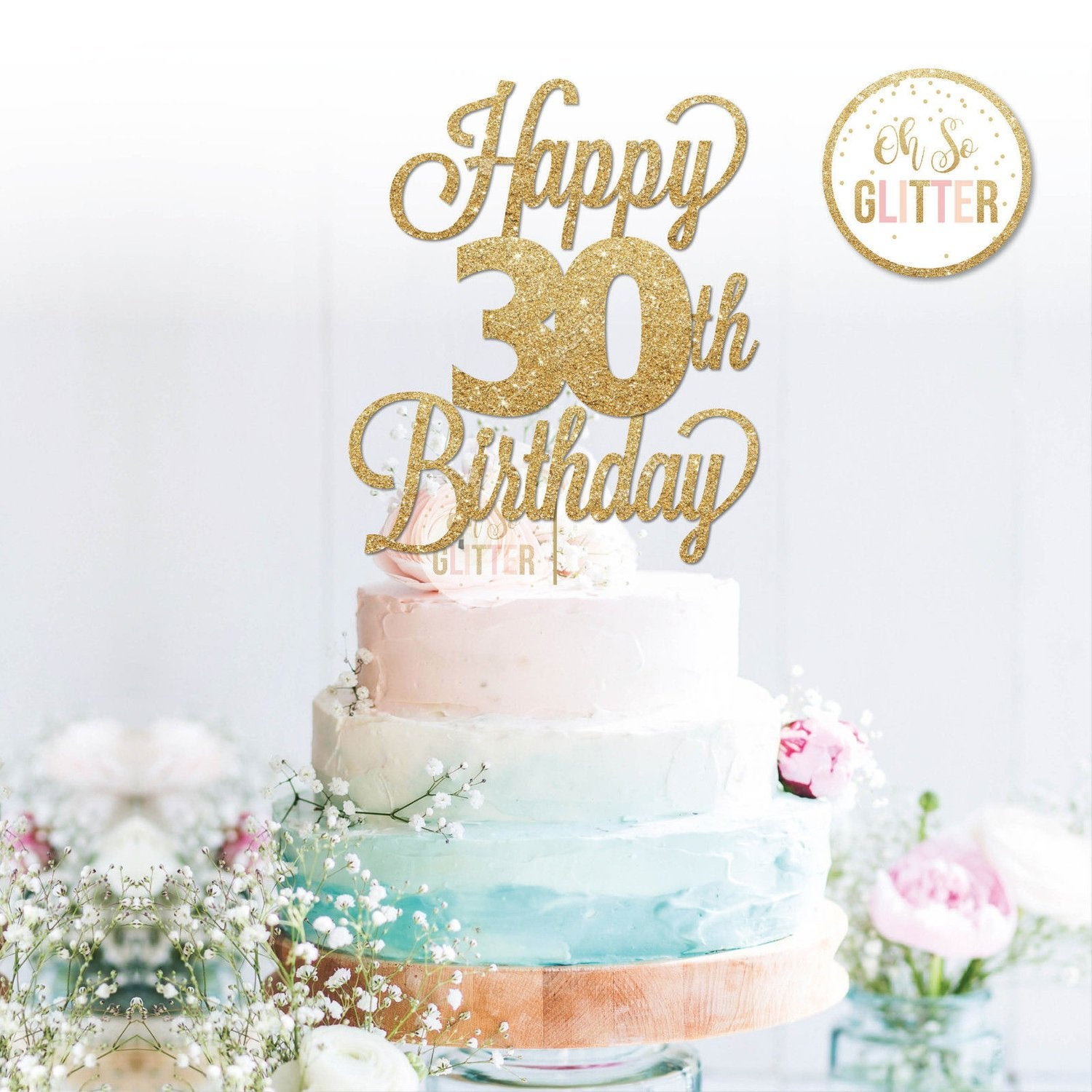 Sensational Happy 30Th Birthday Variety Of Ages Cake Topper Oh So Glitter Personalised Birthday Cards Paralily Jamesorg