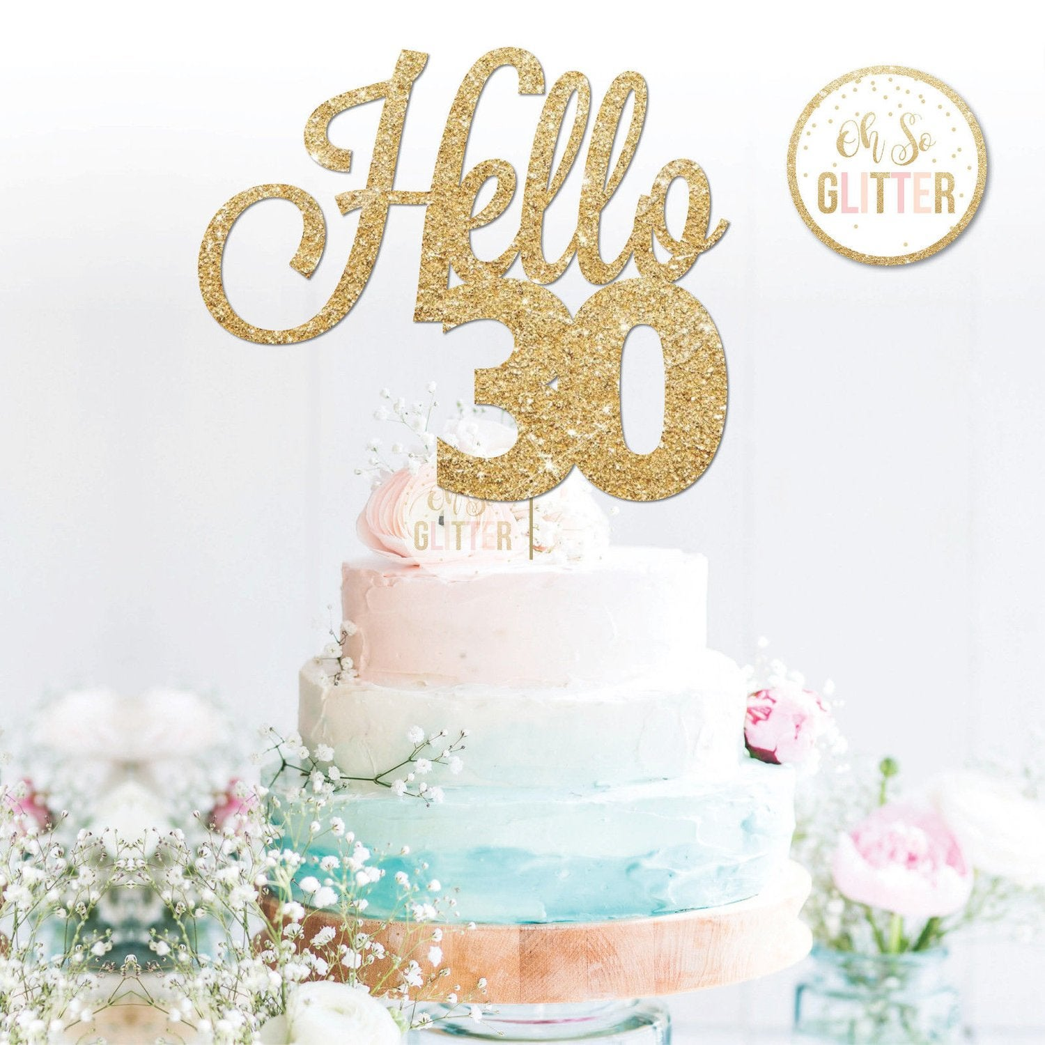 Image of Hello 30 (variety of ages) cake topper