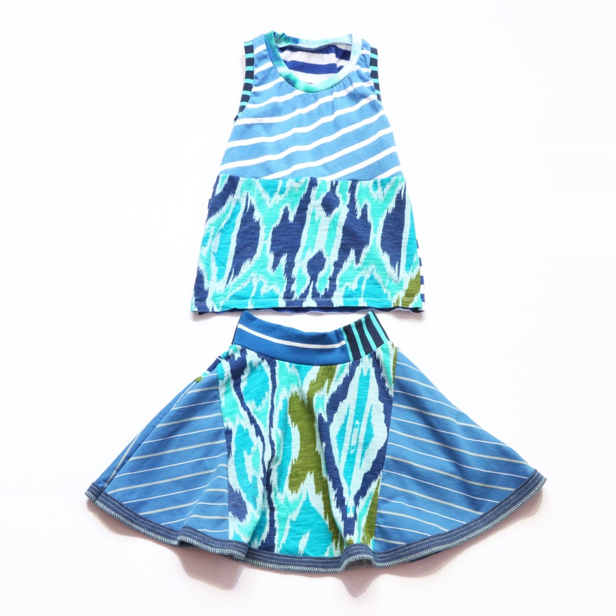 Image of isabella ikat 4/5 blue stripe skirt set