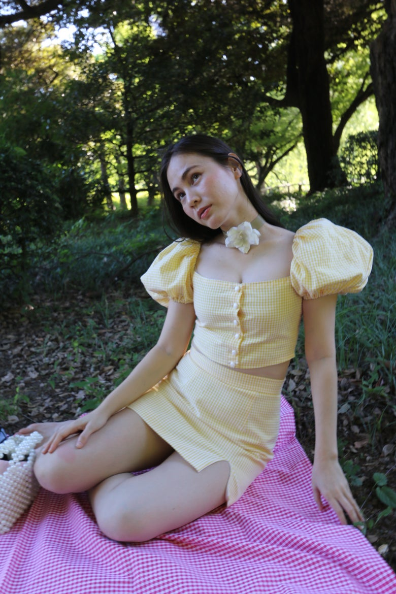 Image of Emma Set in Yellow Gingham