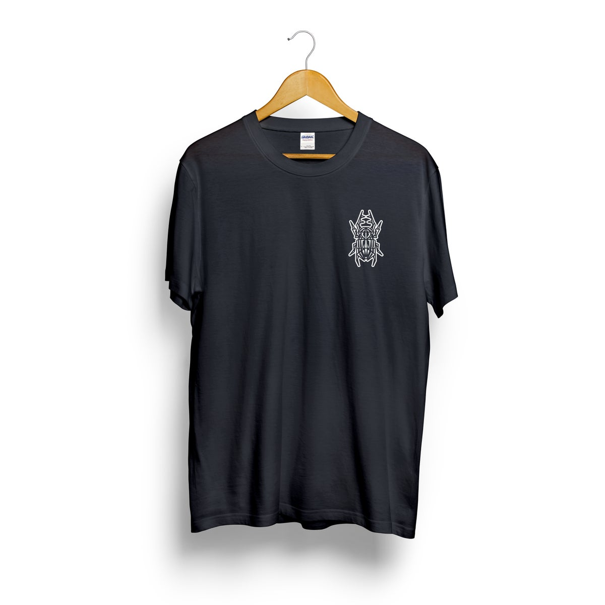 Image of Beetle Breast Pocket Print Black Tee