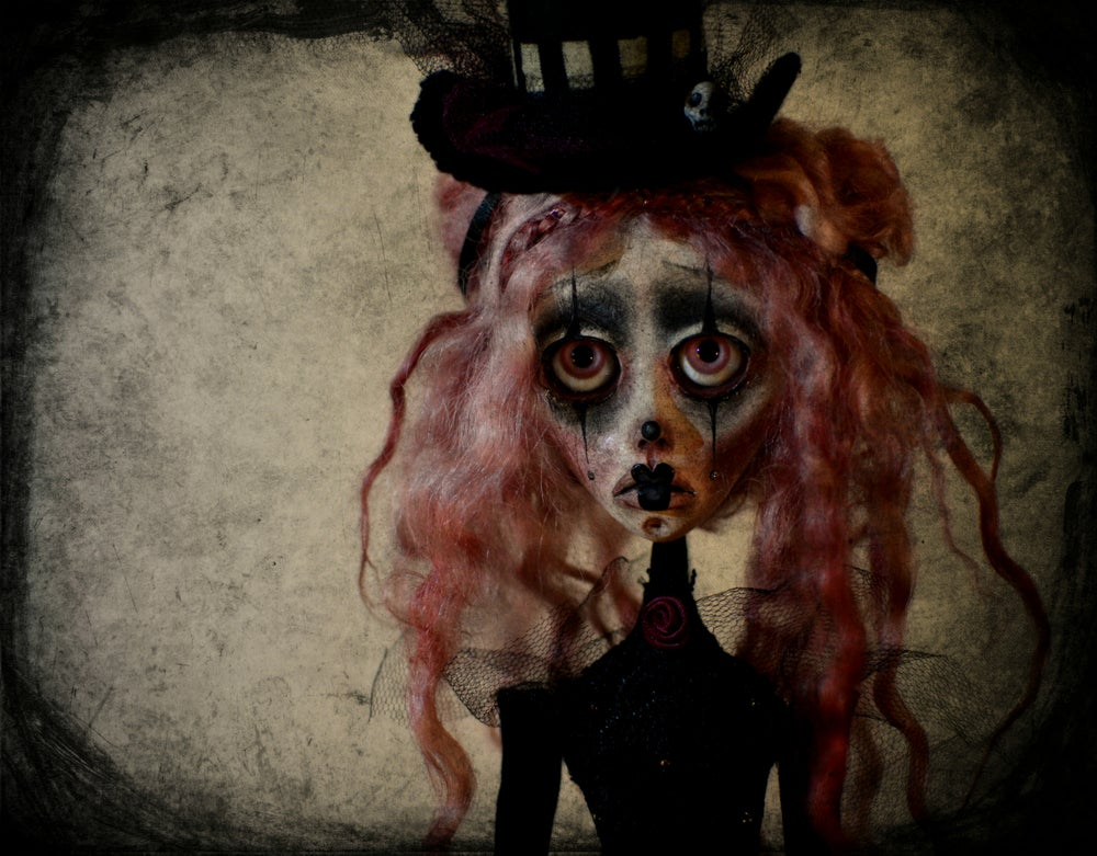 Image of OOAK Art Doll NADINE, Circus doll, clown doll, dark doll, sad doll, gothic doll, goth doll