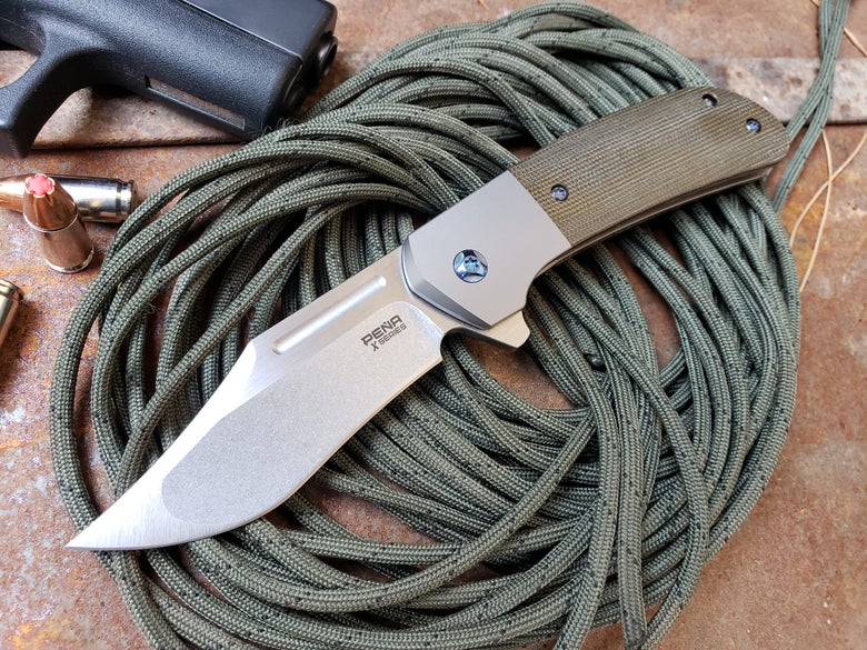 Image of X Series OD green canvas micarta Lanny's Clip Flipper