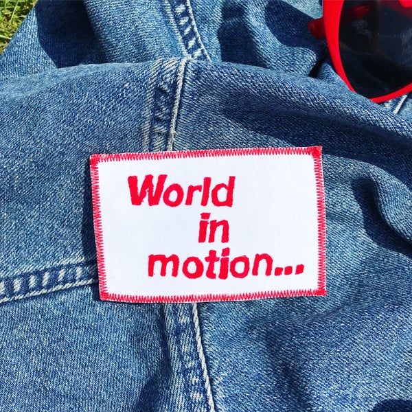 "Image of ""WORLD IN MOTION"" New Order World Cup Hand Painted Iron-on Patch *LIMITED AVAILABILITY*"