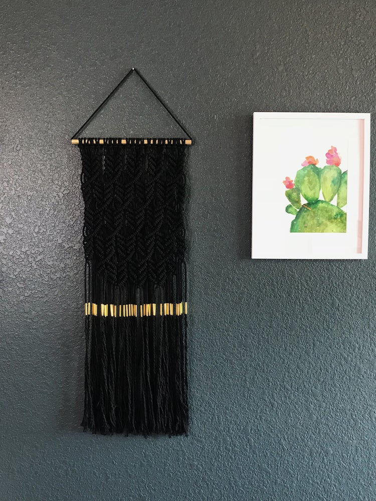 Image of Black Macramé Wall Hanging