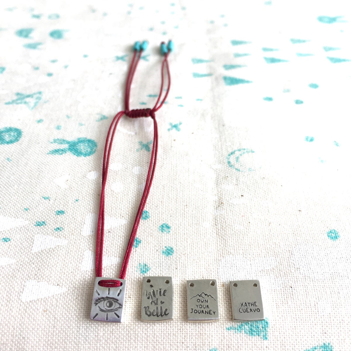 Image of square charm bracelet