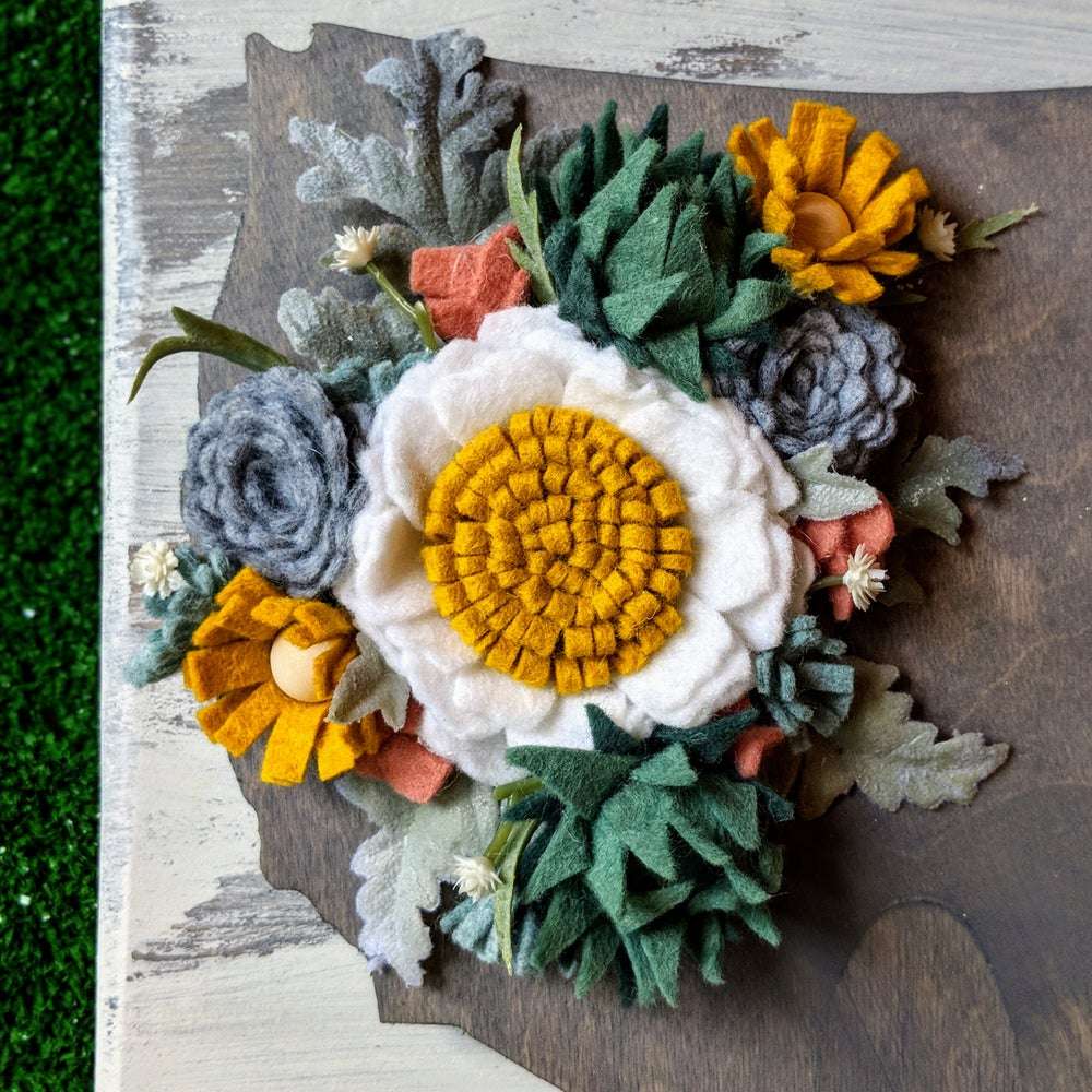 Image of Wood USA with Gray Succulent Felt Flowers