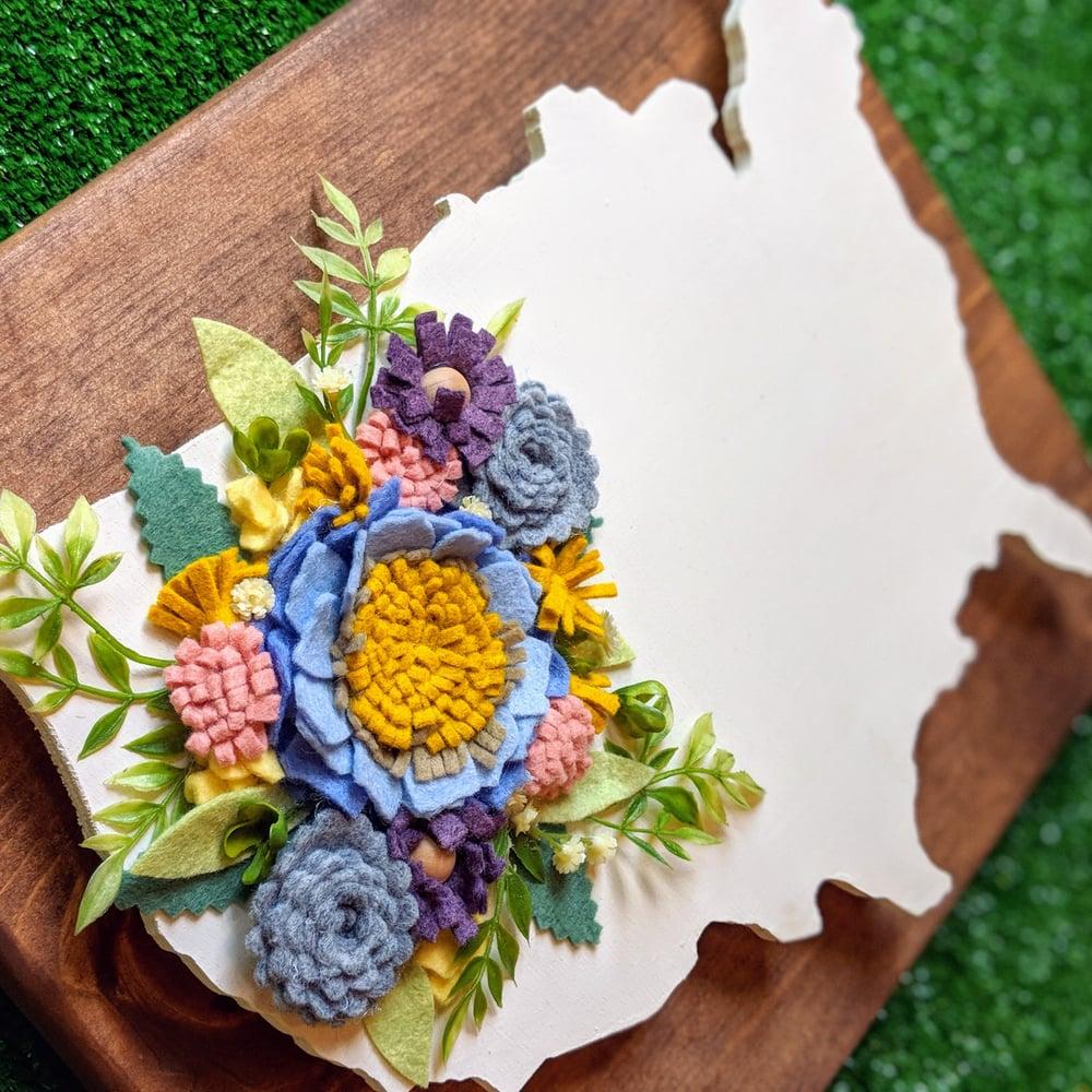 Image of USA Wood Cut out with Secret Garden Blue Felt Flowers