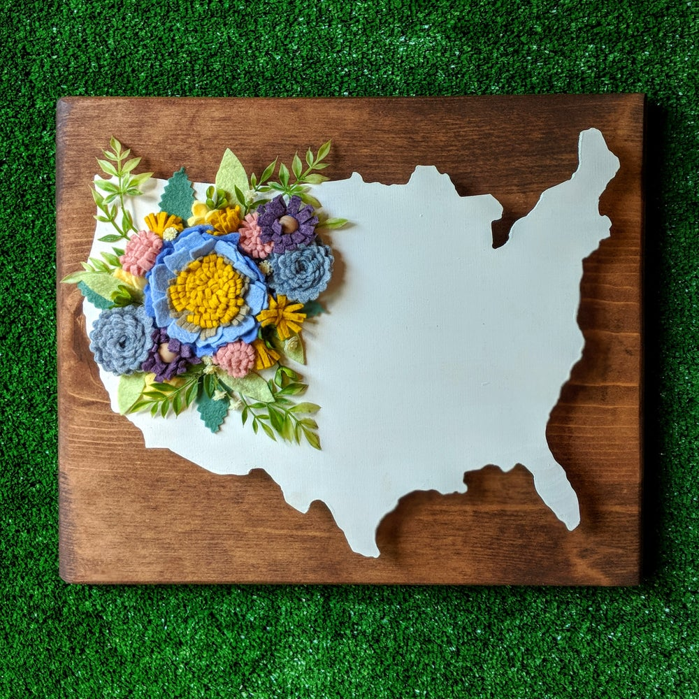 Image of USA Wood Cut out with Secret Garden Blue Felt Flowers