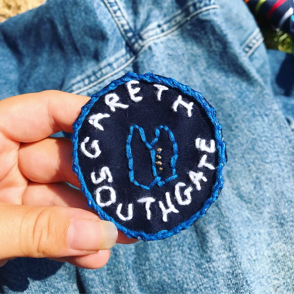 "Image of GARETH SOUTHGATE ""Waistcoat"" Hand Embroidered Iron-on Patch *LIMITED AVAILABILITY*"