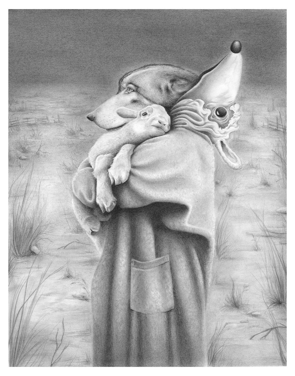 Image of WOLF AND LAMB (Original pencil drawing)