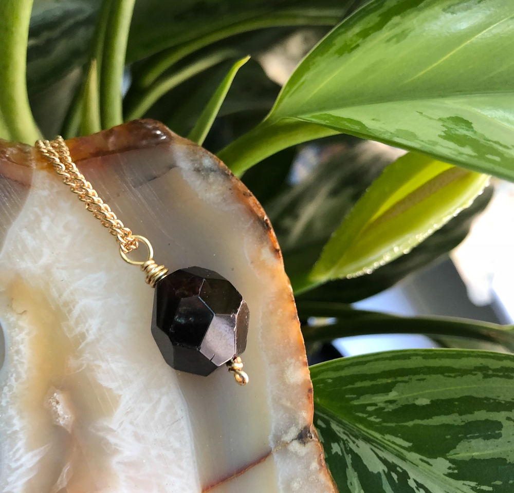 Image of Juicy Jumbo Garnet Gold Necklace // Vitality, Confidence, Protection, Balance, Health + Strength