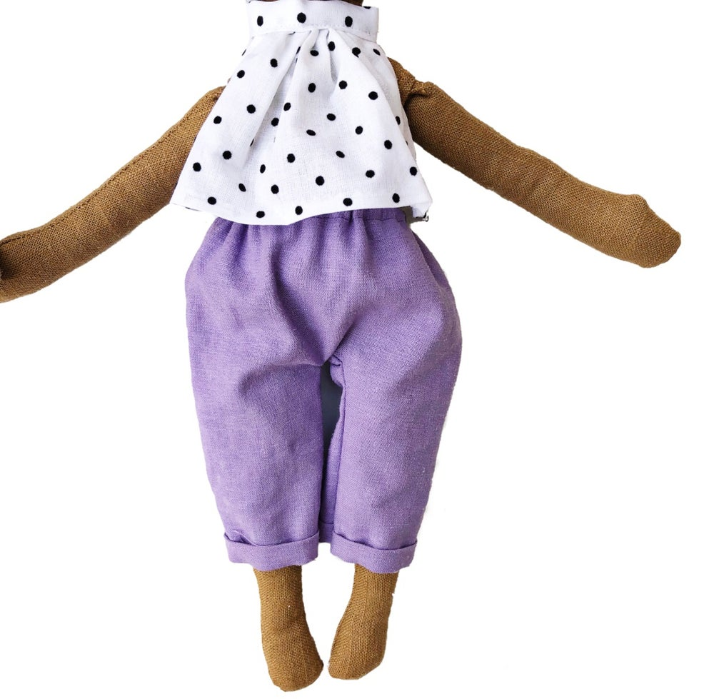 Image of Polka dot blouse w| purple crop pant - Doll Accessory