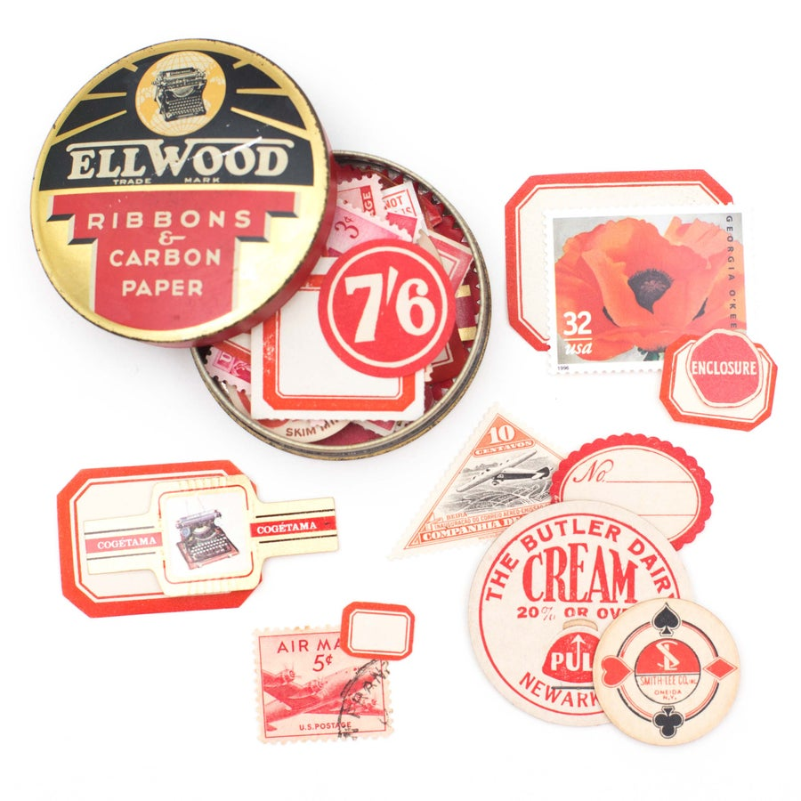 Image of Red Typewriter Tin with Ephemera