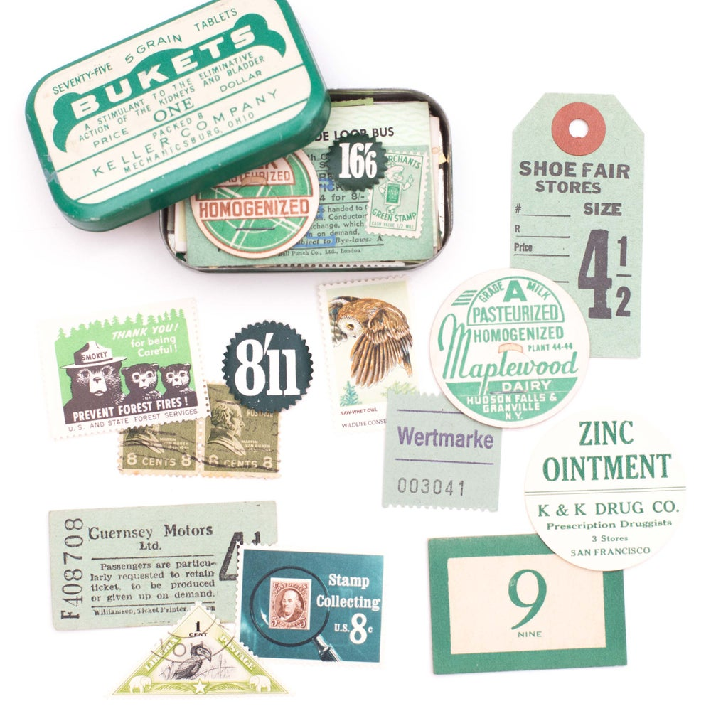 Image of Green Medicine Tin with Ephemera